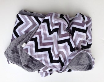Minky Baby Blanket, Baby Boy Blanket, Baby Girl Blanket, Black Chevron, Baby Boy Blanket, Car Seat Blanket, Stroller Blanket Size 29 x 36