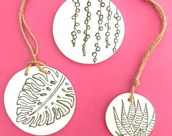 Haworthia, Monstera and String of Pearls wall hanging, ceramic ornament