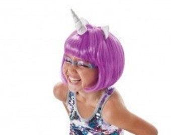 Unicorn Wig Purple Unicorn Horn Costume Wig Short Bob mlp My Little Pony Cosplay