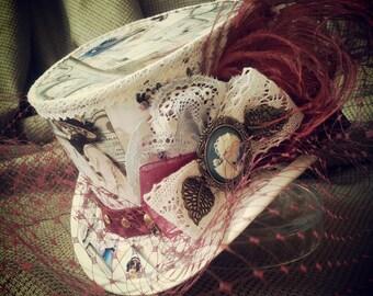 Steampunk Wedding Hat, Wedding Hat, Mad Hatter Hat, Steampunk hat, Wedding Fascinator, Alice in Wonderland, Mini Top hat, Steampunk Wedding