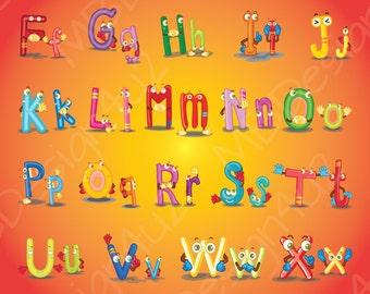 Illustrated Monster Alphabet Wall Art, Brights Nursery Alphabet Poster, Illustrated Alphabet, Kids Room Decor, ABC Poster, Kid's Room Print