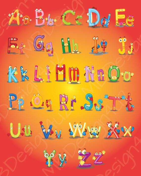 Illustrated Monster Alphabet Wall Art Brights Nursery