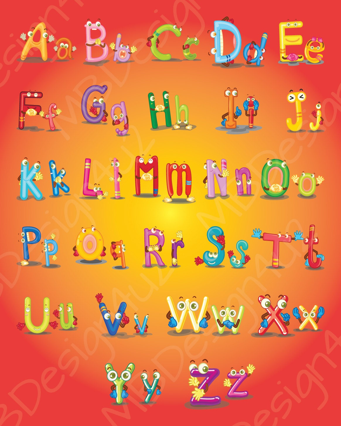 Beautiful Alphabet Wall Art Nursery Component - The Wall Art ...