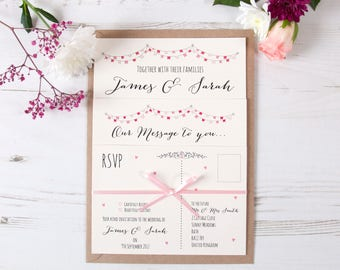 Pink Flag Bunting Wedding Invitations (Any Colour Available) Shabby Chic