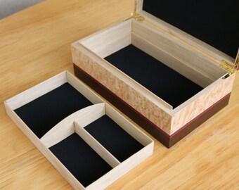 Jewelry Box / Oak, Wenge, Purpleheart Birdseye Maple / Gift for Girlfriend, Wife