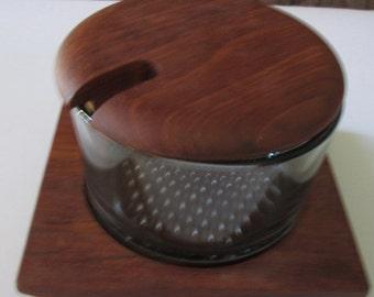 Mid Century Danish Modern teak individual tray Teak and  Smokey Glass Condiment Dish by Luthje Wood Denmark