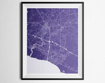 Covington, Mandeville, Madisonville, Abita Springs, Louisiana Northshore Abstract Street Map Print