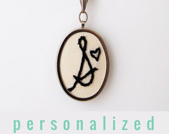 Simple Initial Necklace Name Pendant Necklace. Gifts for Teen Girls. Letter Necklace. Initial Jewelry Personalized Gifts Hand Embroidery...