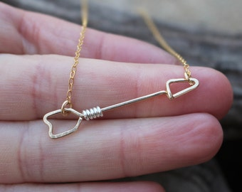 Tiny Gold Arrow Necklace, 14K Gold Filled, Sterling Silver, Wire