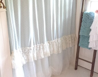 Lace Shower Curtain, Shabby Chic Shower Curtain, Ruffle Shower Curtain,  Bohemian Bathroom Curtain