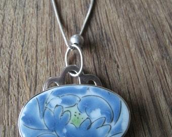 Sterling Silver Hand Painted Porcelain Floral Pendant Necklace (939)