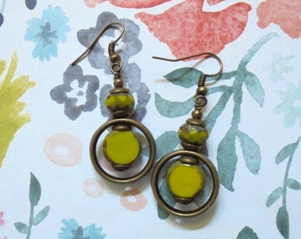 Chartreuse Green and Brass Boho Earrings (3590)