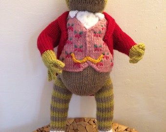 Beautiful hand knitted Jeremy Fisher figure