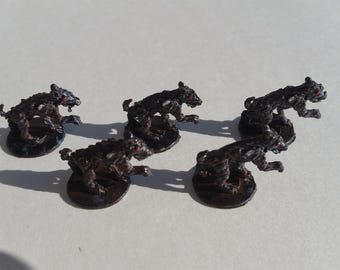8 pc Giant Rats Zombie Dogs Hand Painted Great for D & D RPG