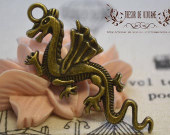 Set of 2 QDW207 pendant, Bronze, dragon