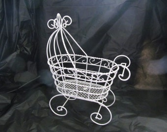 """10"""" Antique Wire Baby Carriage Buggy  - Great for Baby Shower or Christening Decorations"""