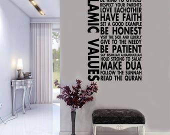 Islamic wall Stickers, Islamic Values Wall Decals, Muslim Arts