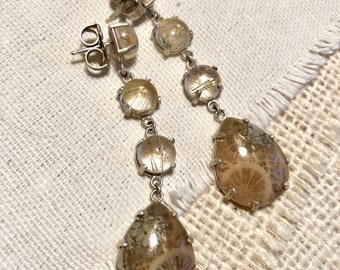 Fossilized Coral and Rutilated Quartz Earrings