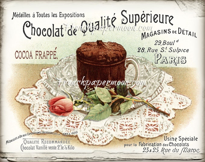 Vintage Shabby French Food Digital, Hot Chocolate, Roses, Chocolate Drink, Old Typography, Large Size Image Transfer, Kitchen Print