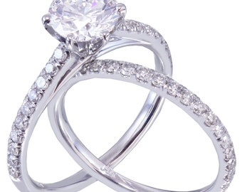 14k White Gold Round Cut Diamond Engagement Ring And Band 1.45ct G-SI1 EGL USA