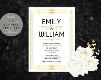 great gatsby invitation templates