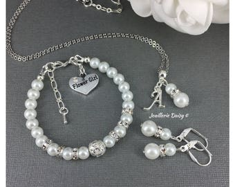 Flower Girl Gift Flower Girl Jewelry Set Necklace Bracelet Pearl Jewelry for Girls Wedding Bridal Party