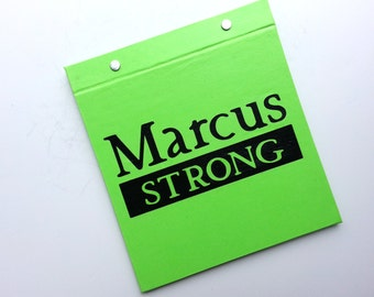 Race Bib Holder - Runner Title Type Strong with Name Personalization - Hand-bound Book for Runners - Light Green and Black