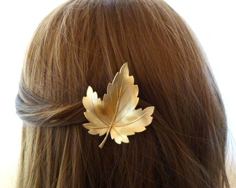 Fall Hair Clip Autumn Accessories Gold Leaf Barrette Rustic Woodland Forest Nymph Botanical Garden Fairy Elf Nature Womens Gift For Her