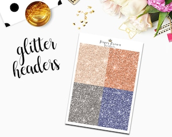 WANDERLUST Glitter Headers/Planner Stickers for use with Erin Condren Life Planner/Happy Planner Stickers/Headers/Weekly Kit/Horizontal