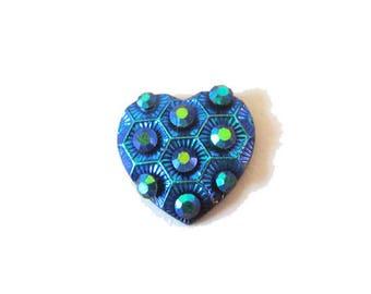 1 x cabochon embellishment resin heart 11mm black AB (iridescent)