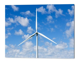 90x60cm wall art print - wind turbine from a windfarm against spotted clouds - power technology acrylic photo print 3132