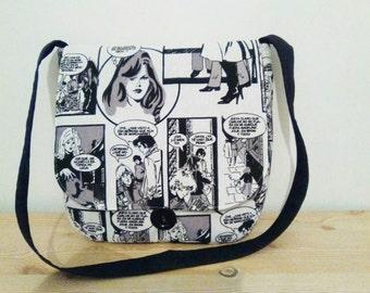 Canvas bag,fabric bag,canvas kawaii bag,comic bag,comic tote bag,shoulder bag,black and white,comic purse,comic fabric,teens tote bag