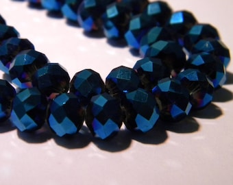 30 pearls glass pumpkin faceted - 8 x 6 mm-glass plate-blue night - F66 galvano
