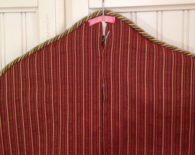 Garment bag travel lite Red gold striped upholstery fabric gold braided trim gold long zipper light weight travel bag carry all sturdy bag