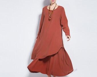 Anysize Soft Linen&Cotton Winter Dress plus size dress plus size clothing Spring Fall Winter dress Y88
