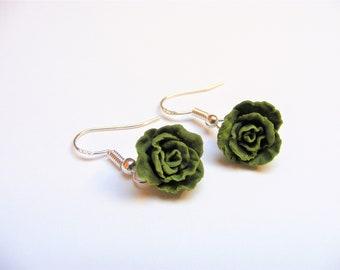 Food Jewelry Lettuce Earrings, Miniature Food Earrings, Mini Food Jewellery, Vegetarian Gift, Lettuce Jewelry, Vegan Gift, Polymer Clay Food