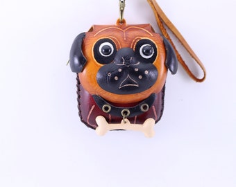 handmade leather dog with bone wristlet coin purse wallet pug