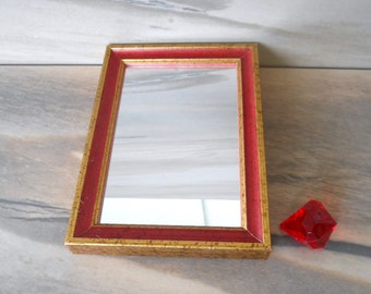 "Vintage Small Hanging Mirror in Wooden Frame,Miniature Rectangle Red and Gold Wall Mirror /7"" X 5""frame,3.5"" X 5.5"" Mirror/"