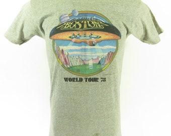 Vintage 70s Boston Band T-Shirt XL fits L World Tour 1978 Nos Deadstock [H65R_0-7]