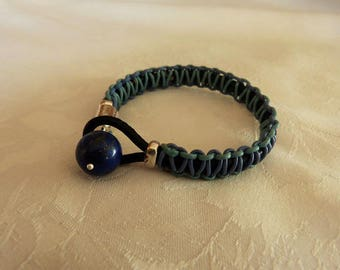 leather bracelet for men, Pearl lapis lazuli 14 mm, Crystal healing jewelry