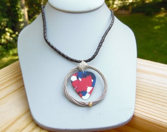 Red, White And Blue Guitar Pick Necklace