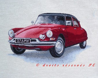 Red fabric Panel tapestry CITROEN DS car coupon jacquard upholstery, cushion, bag, size 47 x 46