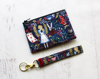 Alice in wonderland bag set - small zipper pouch - cute key fob wristlet - gift ideas for sister - alice in wonderland keychain - zip pouch