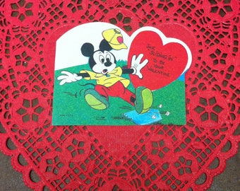 Vintage Disney Mickey Mouse Valentine Card Baseball Sliding In