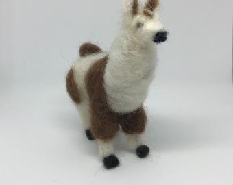 Al- Alpaca needle felted miniature toy figurine collectible soft sculpture