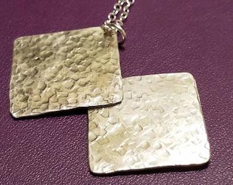 Hammered sterling silver pendant