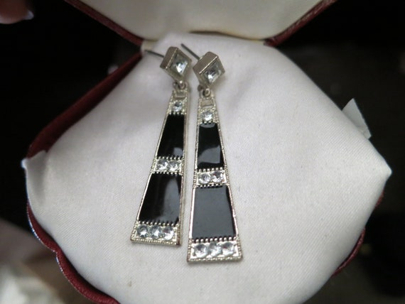 Wonderful vintage silver metal black enamel diamante deco earrings