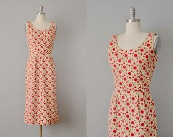 50s Dress // 1950s Cotton Novelty Print Wiggle Dress w/ Set Rhinestones  // Small