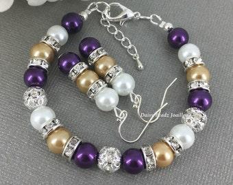Purple and Gold (Champagne) Bracelet Bridesmaid Bracelet Bridal Gifts Pearl Bracelet Wedding 2016