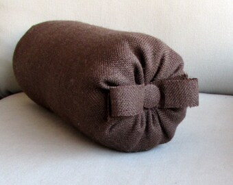 chocolate brown burlap Bolster pillow with bow